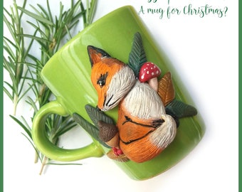 Fimo cup polymer clay Fox unique piece the herbal tea mug christmas gift idea premo customizable Christmas gift decoration
