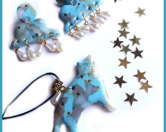 a choice parure Necklace earrings cat clouds fimo blue blue pendants gift idea cat marble premo girl woman jewelry