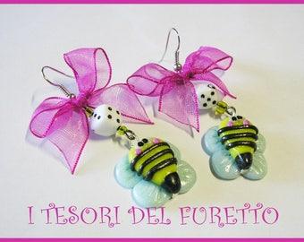 "Earrings ""Api Vespine"" Fimo grouper kawaii idea gift girl Baby Bee Clip idea Gift"