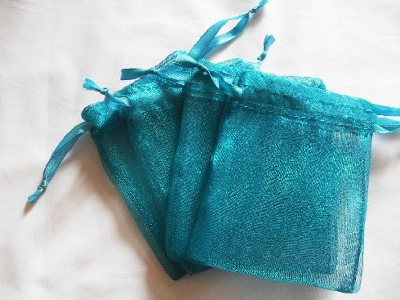 10 10x12 Turquoise Blue Organza bags 10x12 inch