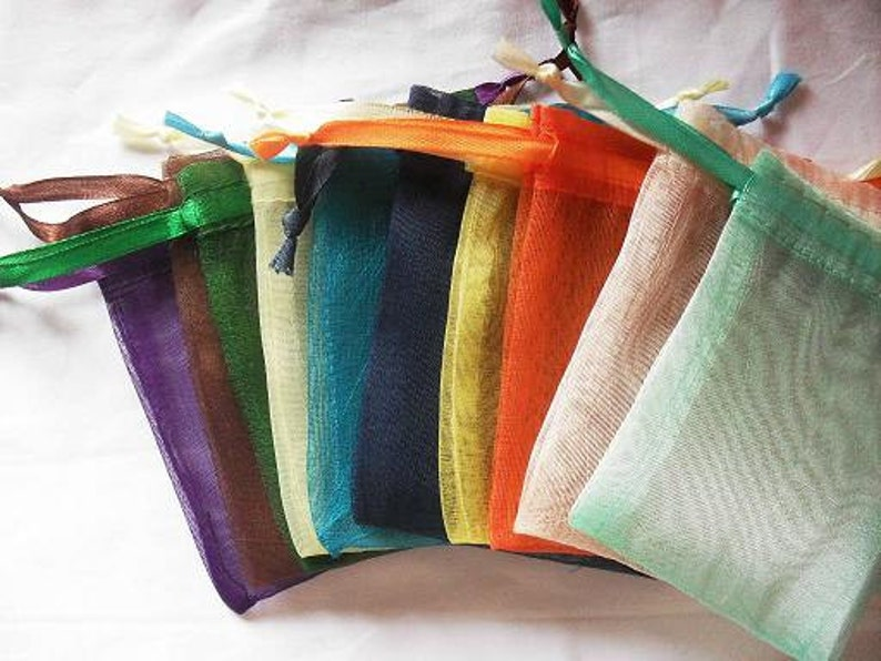 100 Organza bags in 15 mix colors 4x6 inch