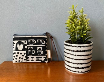 Black and White Print Cup Dot Star Plant Posner and Posner Handprinted Zip Coin Pouch Bag Purse Scandi Cotton Canvas