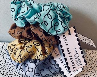 Hair Scrunchie - Handpainted Fabric - Telephone Wire - Hair Accessory - Posner - Lilac Lemon Latte Aqua