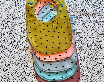Classic Shaped Round Baby Bibs - Cotton and Soft Microfleece  - Dots