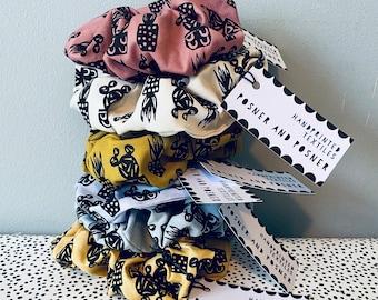 Hair Scrunchie - Handpainted Fabric - Plant Print - Hair Accessories - Posner - Lilac Lemon Mustard Yellow Natural Grey Pink