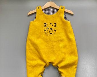 Handcrafted Linen Cotton Romper - Gingham -  Handprinted Pocket - Geo print - Gingham- Poppers - Mustard Grey