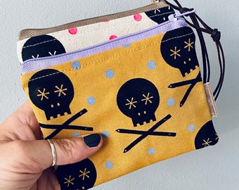 Handprinted Zip Coin Pouch Bag Purse - Skulls and Pencils - Mustard- Pink - Natural - Fluoro - Scandi - Posner and Posner - Cotton Canvas