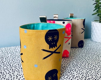 Handprinted Mustard Black Lilac Skull and Pencils Canvas Fabric Plant Pot Handcrafted Storage Accessories  Small - Scandi - Posner