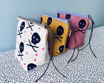 Handprinted Zip Pouch Project Bag Cosmetic Purse - Screenprinted Skull and Pencils - Posner and Posner - fluoro - mustard - pink