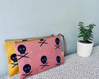 Handprinted Zip Pouch Pencil Case Bag Purse -  Mustard, Pink  Canvas - Skull and Pencils - Scandi Style - Posner