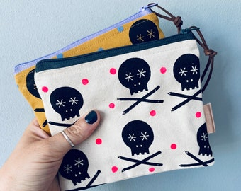 Handprinted Zip Large Purse -  Mustard Natural Dusky Pink Cotton Canvas - Skull and Pencils - Scandi Style