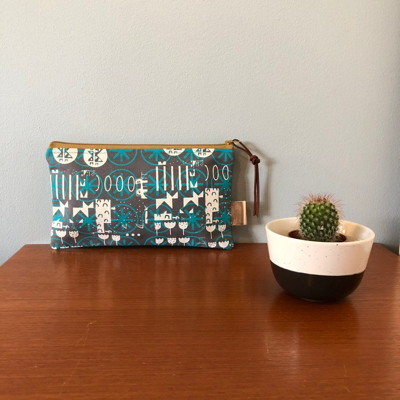 Turquoise and Light Grey on Grey Canvas Handprinted Zip Pouch Pencil case Bag Purse