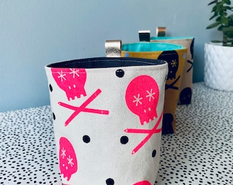 Handprinted Fluoro Pink Skull and Pencils - Canvas Fabric Plant Pot Handcrafted Storage Accessories  Small - Scandi - Natural- Posner