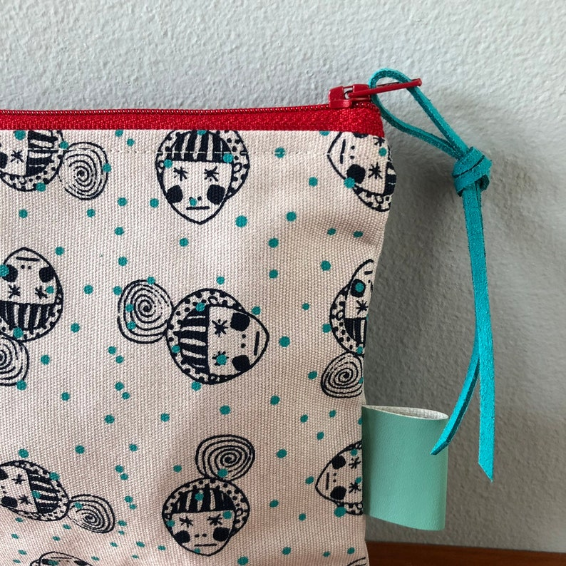 Grey Canvas with Turquoise Dots Face Print Handprinted Zip Pouch Bag Purse