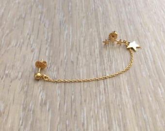 Cartilage Chain Earring, Gold Star Earring, Ear Cuff, Earring Cuff, Gold Earring