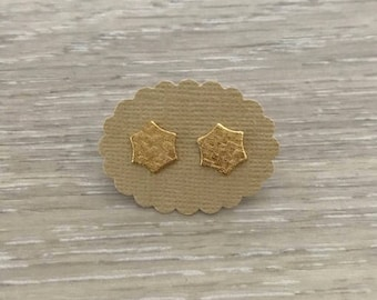 Gold Hexagon Post Earrings, Gold Earring, Dainty Earring, stud Earring