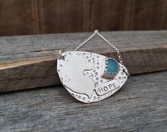 Blue Moon Pendant, Sterling Silver Necklace, Silver Wolf Necklace, Hope Necklace, Message Neckalce, Blue Chalcedony Stone Necklace