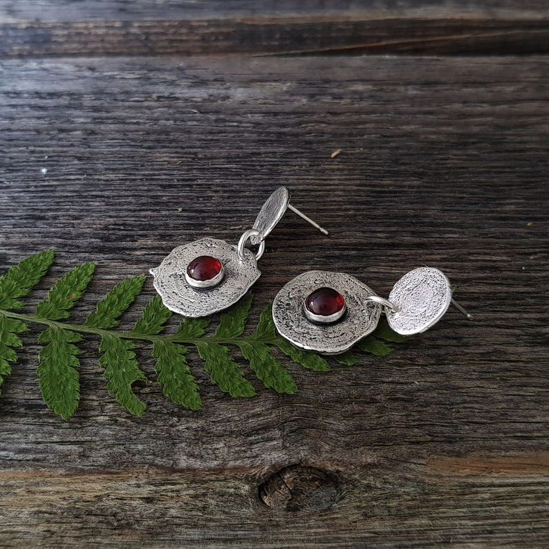 Raw Sterling Silver Stud Earrings with Garnet Valentine/'s Day Gift for Her Unique Jewelry Gift for Women Silver and Red Earrings