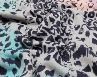 Style P-2465-506 Camel Baby Blue Leopard Skin Pattern Printed French Terry Spandex Fabric by the Yard