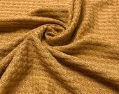 Mustard Waffle Rayon Spandex Open Knit Fabric by the Yard - 1 Yard Style 659