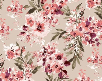 Jersey Fabric Cotton Fabric Fabric By the Yarn Floral Fabric Cotton Sewing Fabric Digital Print Stretch Fabric White Floral Fabric