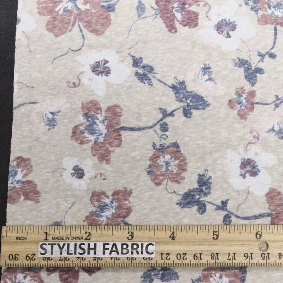 Taupe Marsala 59 algodón poliéster estampado Floral tela | Etsy