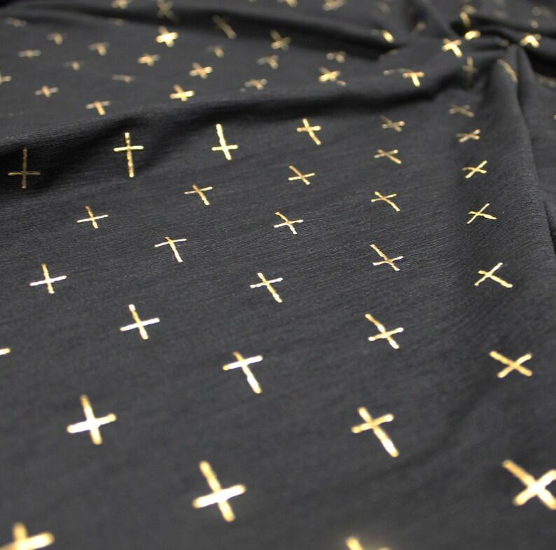 GOLD CROSS Rare Black Stretch Knit Leggings Fabric BTY