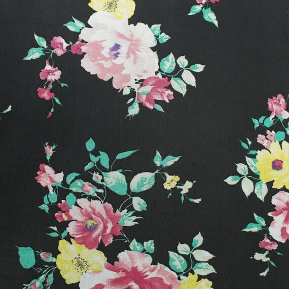 Black Rose Floral Printed Stretch Mesh Fabric 150cm Wide per m Lingerie Clothing