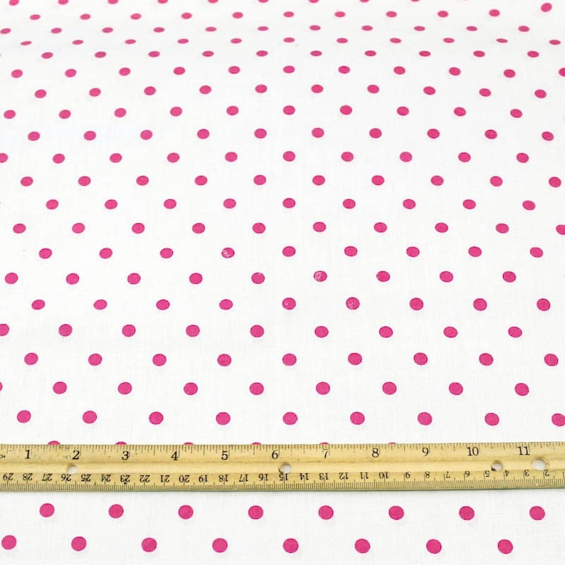 Mini Pois Tessuto Stampato Tessuto Sfondo Bianco Pois Rosa 1 Etsy