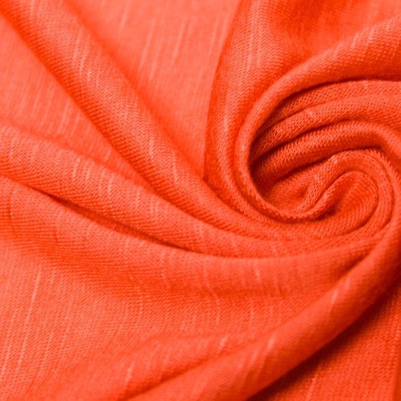 f3a9f0280fb3f6 Bright Orange Slub Rayon Jersey Knit Fabric Light Coral Modal
