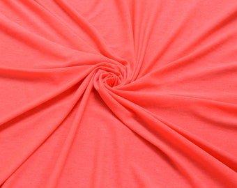 Hot Pink Neon B- Light Solid Poly Rayon Spandex 160 GSM Light-Weight Stretch Jersey Knit Fabric by the Yard- Style 400