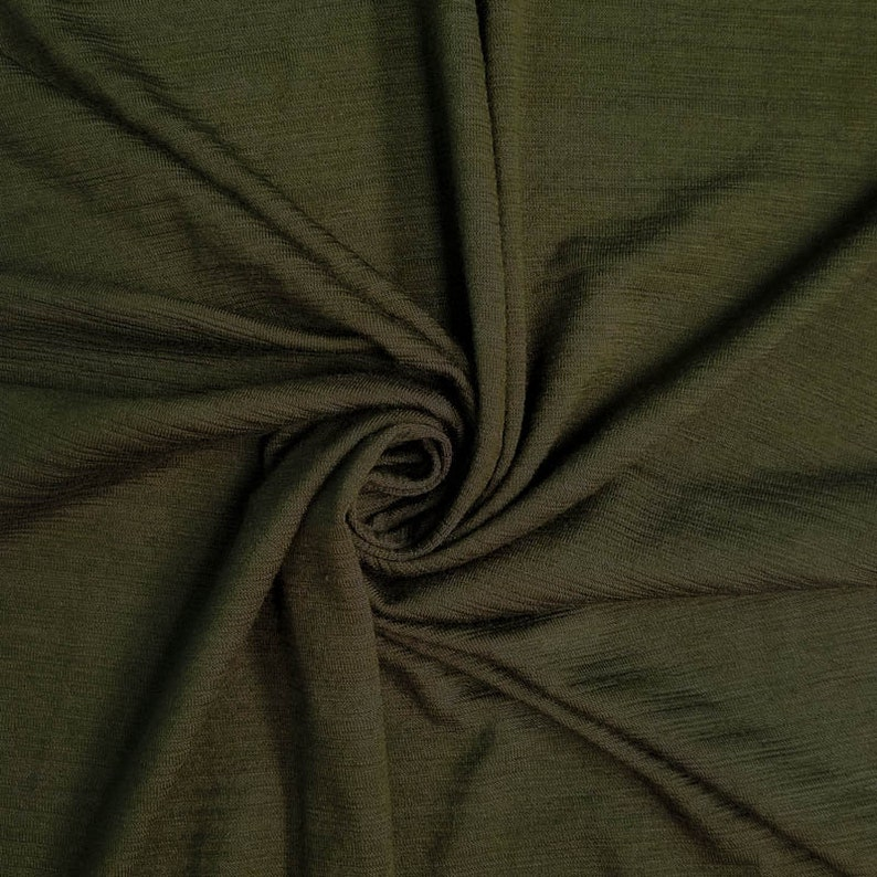 f05023e1031 Olive Ice Slub Rayon Spandex Jersey Knit Fabric by the Yard | Etsy
