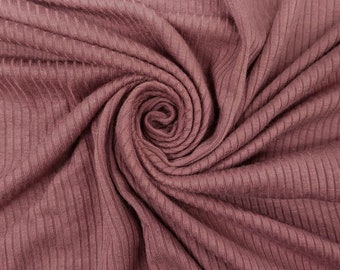 Mauve-B 4x2 Thermal Ribbed Stretch Knit Fabric by the Yard Style 630