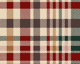 Crimson Hunter Green Mustard Checkered Printed on Hacci Melange Brushed Fabric by the Yard - 1 Yard Style P-1221-736