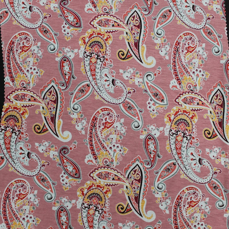 79d0054a067 Mauve Red Paisley Printed on Rayon Spandex Jersey Knit Fabric | Etsy