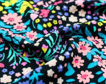 Black Coral Ditsy Floral Design Printed Doris Stretchy Crepe Knit Fabric by the Yard - Style P-1913-703