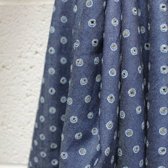 Solid Blue Chambray Punched Holes Woven Cotton Fabric by the yard or Swatch