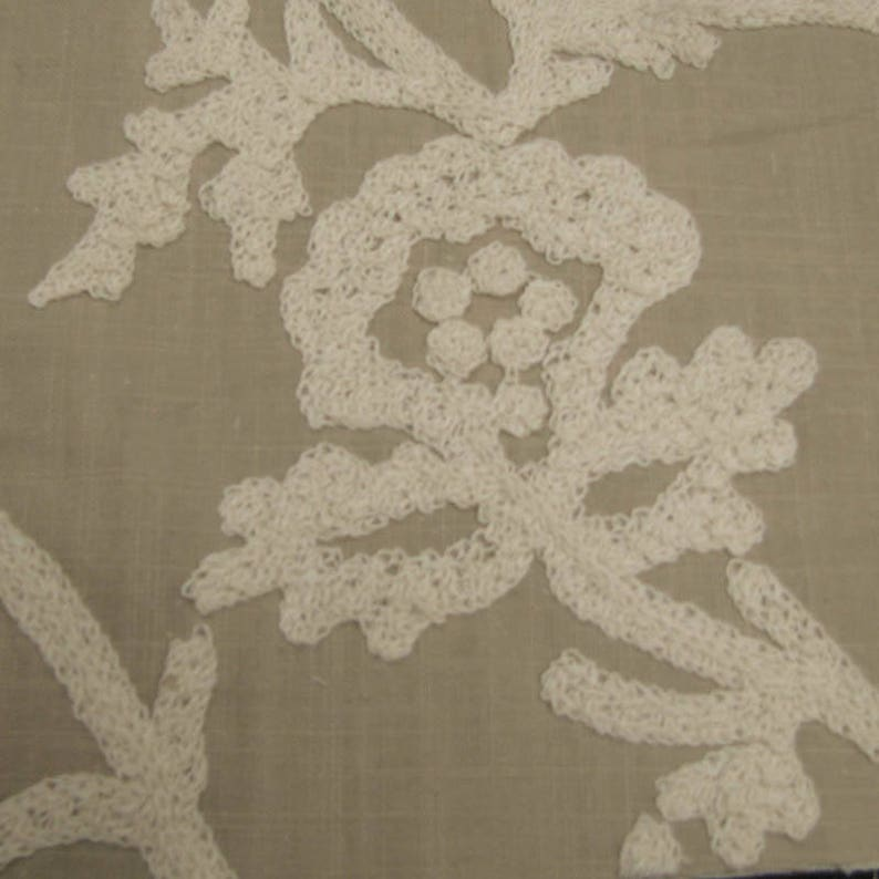 Taupe Ivory Snowflake Drapery Pattern on Linen Cotton Canvas Fabric by the Yard Style 3445