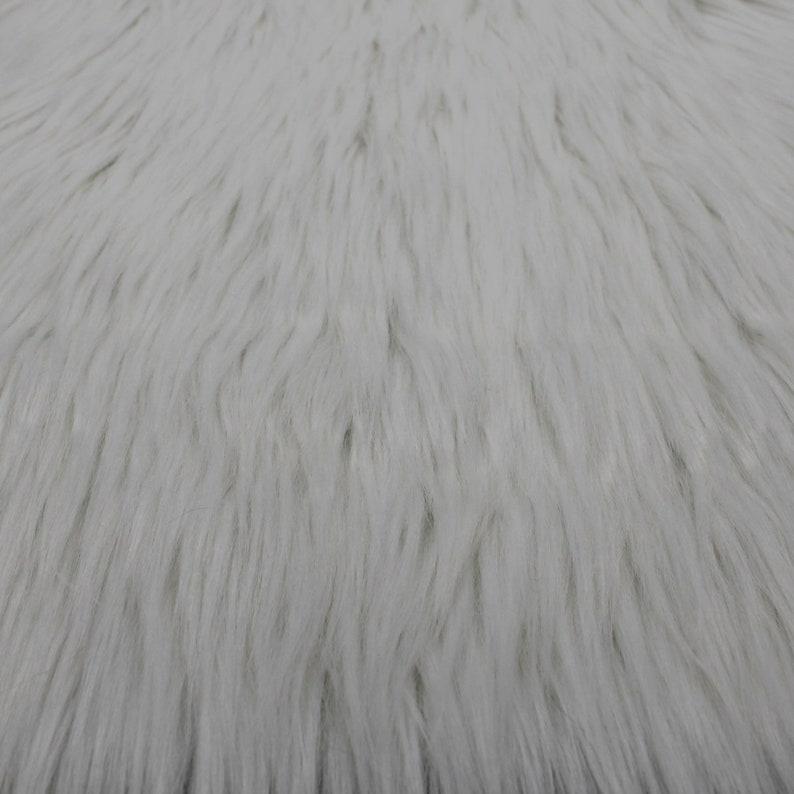 White Faux Fur Fabric Long Pile Mongolian  1 Yard Style 5000 image 0