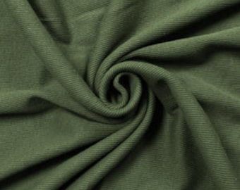 """Olive Special 60"""" Rib Knit Heavy-Weight Cotton Fabric by the Yard - Style 3077"""
