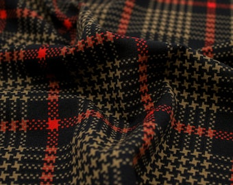 Black and Red Checkered Pattern Printed Scuba Crepe Techno Knit Fabric by the Yard-Style P-548-702
