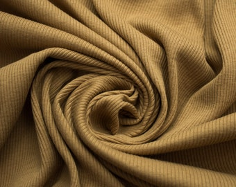Dark Gold 55'' Heavy-Weight 1x1 Cotton Rib Knit Fabric By the Yard Style 3128