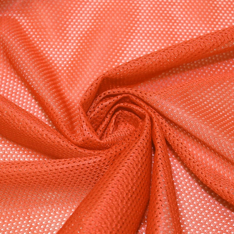 Orange Micro Mesh Knit Fabric by the Yard Football Fabric image 0