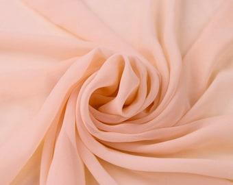 Blush Solid Hi-Multi Chiffon Fabric by the Yard, Chiffon Fabric, Wedding Chiffon, Lightweight Chiffon Fabric - Style 500