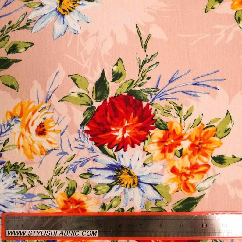 Style P-527-586 Blush Royal 58 Floral Print on Crepe Chiffon Fabric by the Yard