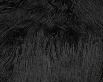 Black Faux Fur Fabric Long Pile Mongolian - 1 Yard Style 5000
