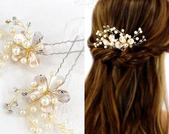 Bridal Hair Pins Wedding Hair Pins Pearl Hair Pins Flower Hair Pins Blossom Hair Pins Bridal Hair jewelry bridesmaid hair pins