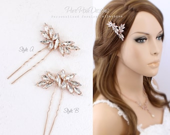 Weddings Hair Pin Rhinestone hair pins Bridal hair pins bridesmaid hair pins crystal hair pins Rose gold hair pins hair pins Daisy