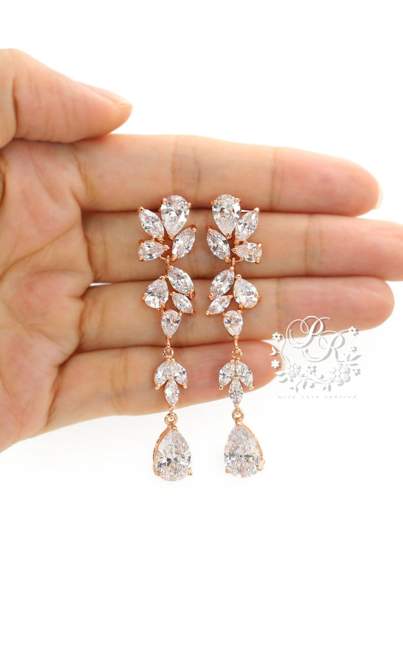 Wedding Earrings Rose Gold plated Teardrop Zirconia Earrings image 0