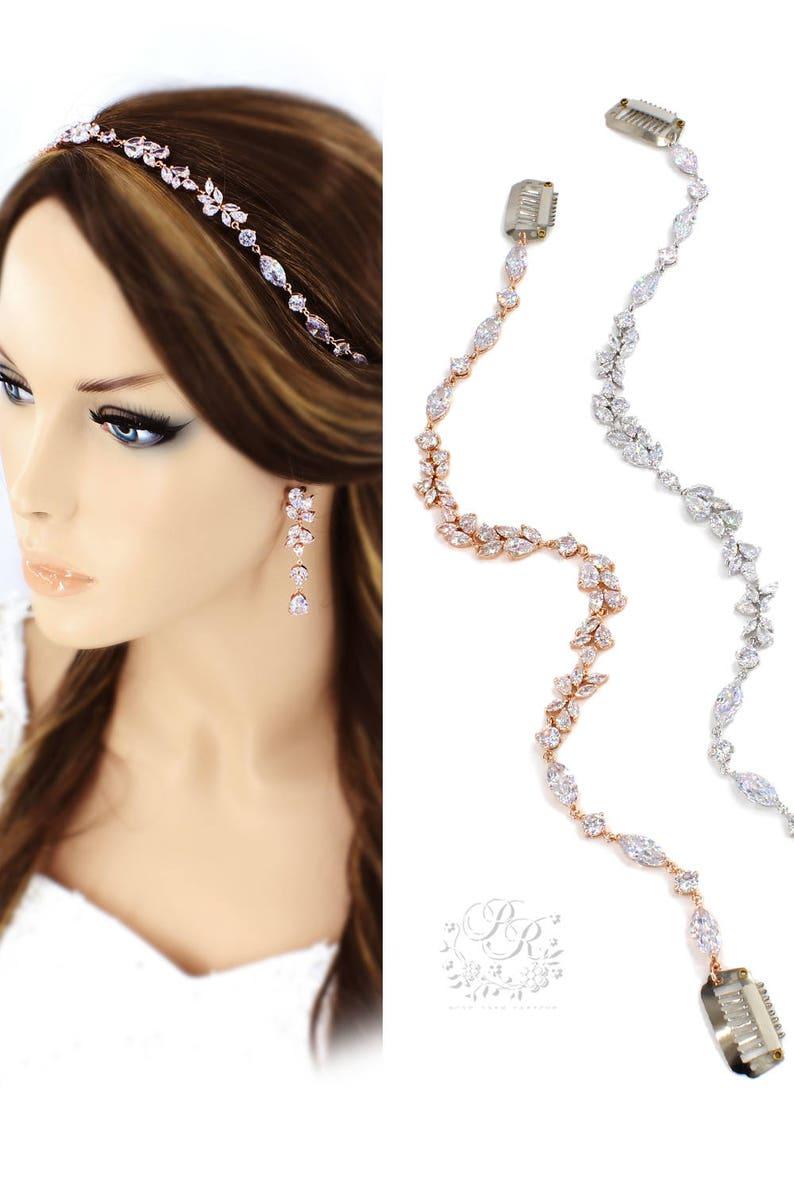 Wedding Necklace set Zircon Rhinestone Necklace Earrings Wedding Jewelry set Wedding Accessory Rose gold Bridal Backdrop Necklace set Sasa